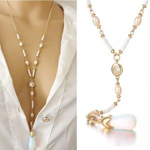 Jewelry - New! Moonstone / Pearl / Crystal Lariat Necklace